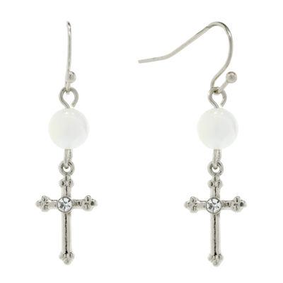 1928 Religious Jewelry Clear Brass Cross Drop Earrings