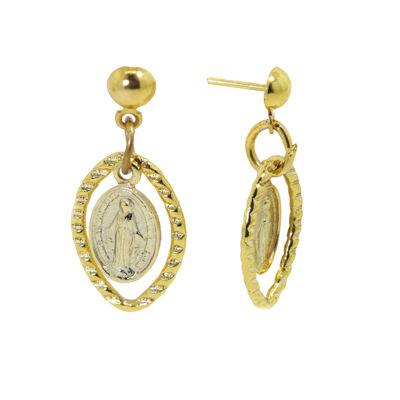 1928 Religious Jewelry 14K Gold Over Brass Drop Earrings