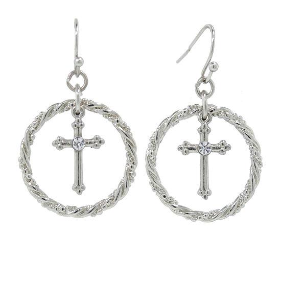 1928 Religious Jewelry 1 Pair Cross Hoop Earrings