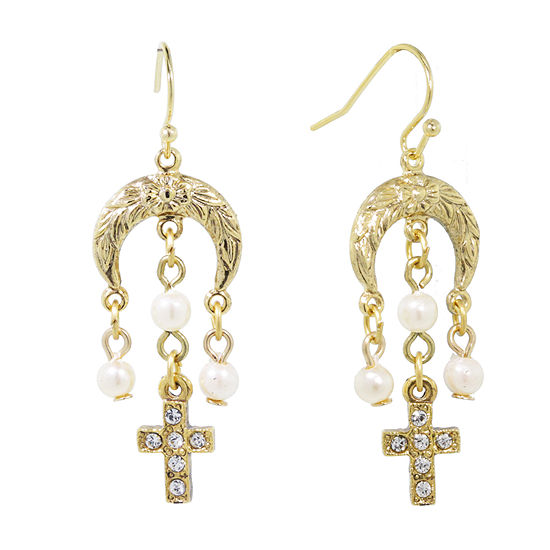 1928 Religious Jewelry Simulated Pearl Cross Chandelier Earrings