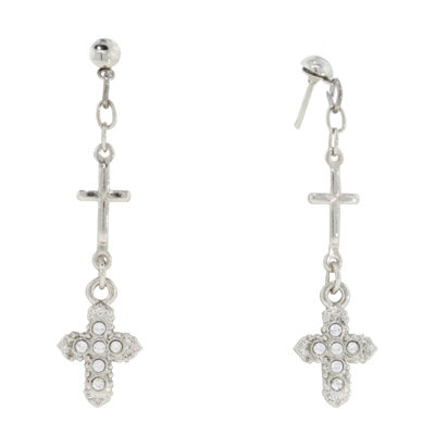 1928 Religious Jewelry Clear Brass Cross Drop Earrings