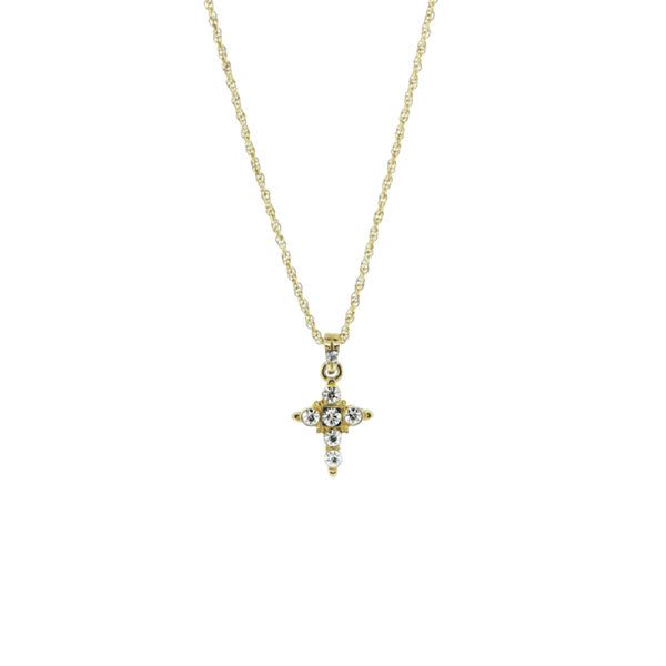 1928 Religious Jewelry Womens Clear 14K Gold Over Brass Pendant Necklace