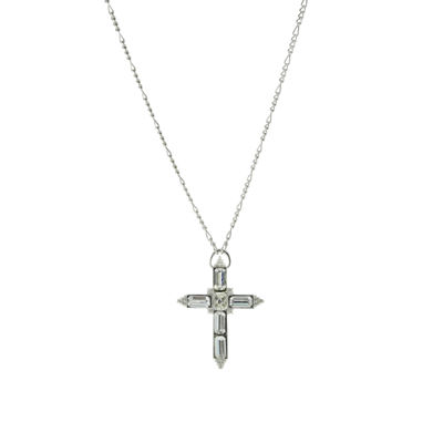 1928 Religious Jewelry Womens Clear Brass Cross Pendant Necklace