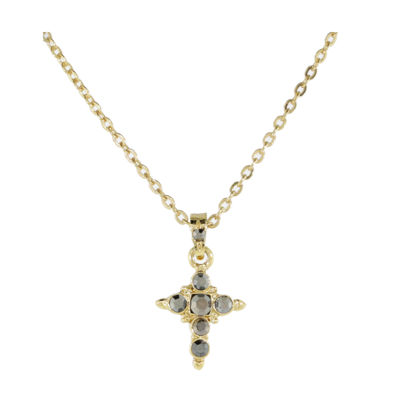 1928 Religious Jewelry Womens Gray Brass Cross Pendant Necklace