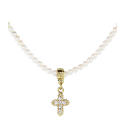 1928 Religious Jewelry Womens Clear Simulated Pearls Brass Cross Beaded Necklace