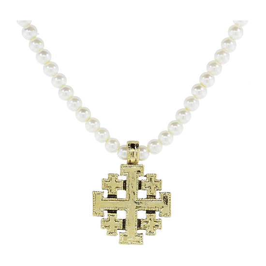 1928 Religious Jewelry Simulated Pearl 15 Inch Cross Beaded Necklace