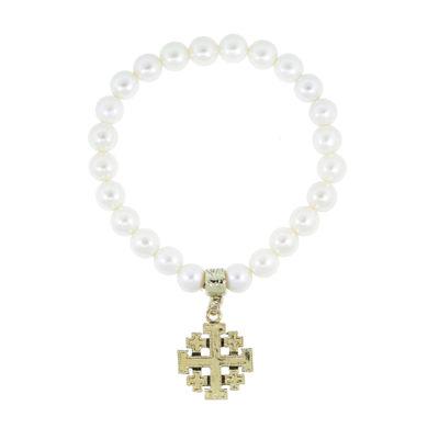1928 Religious Jewelry Womens White Stretch Bracelet