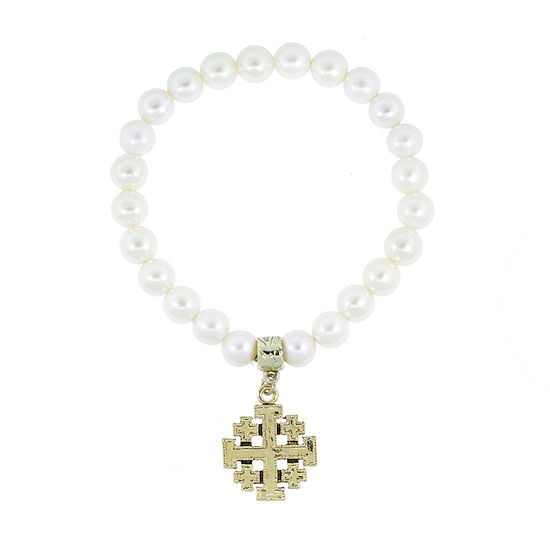 1928 Religious Jewelry White Simulated Pearl Cross Stretch Bracelet