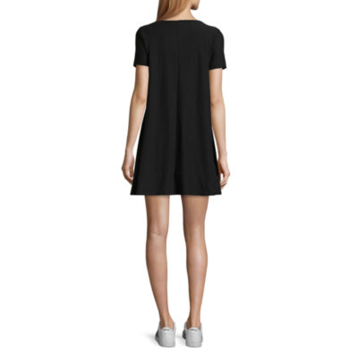 Derek Heart Short Sleeve Trapeze Dress-Juniors