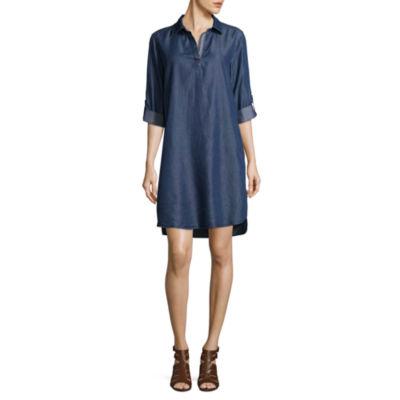 Luxology 3/4 Sleeve Shirt Dress