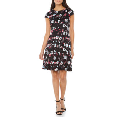 Studio 1 Short Sleeve Lace Floral Fit & Flare Dress