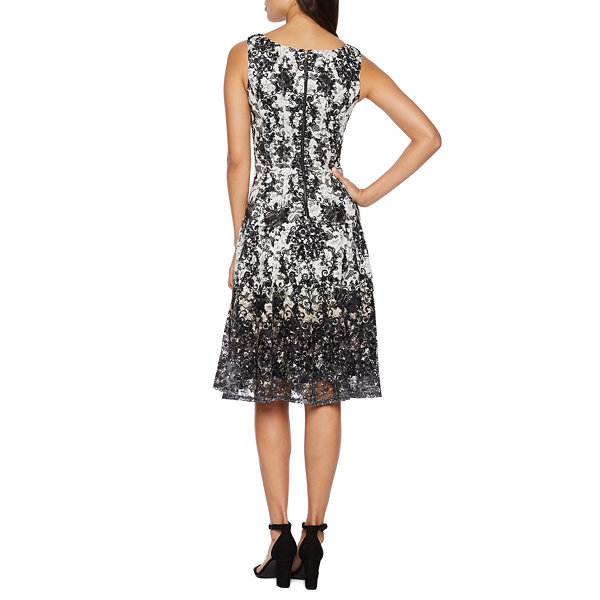 Danny & Nicole Sleeveless Lace Scroll Fit & Flare Dress