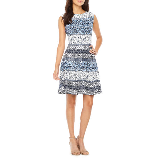 Danny & Nicole Sleeveless Abstract Fit & Flare Dress