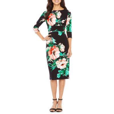 Melrose Short Sleeve Floral Sheath Dress