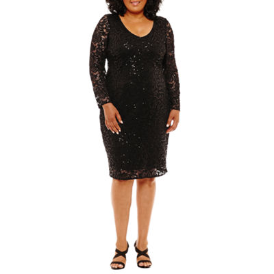 Blu Sage Long Sleeve Lace Sheath Dress - Plus