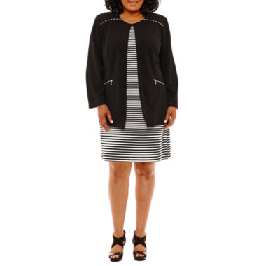 Perceptions Long Sleeve Jacket Dress-Plus