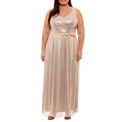 Blu Sage Sleeveless Belted Evening Gown - Plus