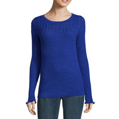 Liz Claiborne Long Sleeve Scoop Neck Pullover Sweater-Talls