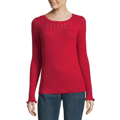 Liz Claiborne Long Sleeve Scoop Neck Pullover Sweater - Tall