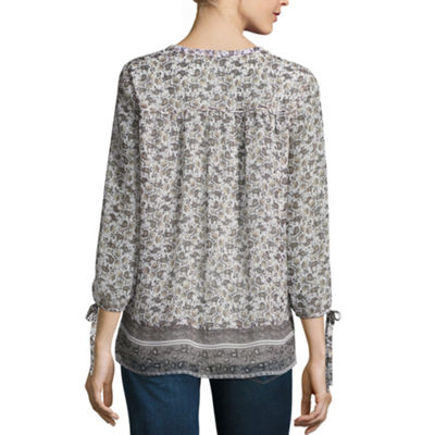 St. John's Bay 3/4 Sleeve U Neck Blouse-Tall