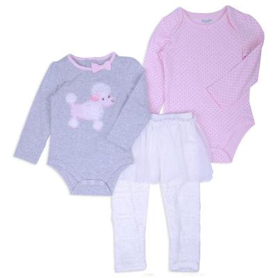 Nanette Baby 3-pc.Layette Poddle Bodysuit Set-Baby Girls