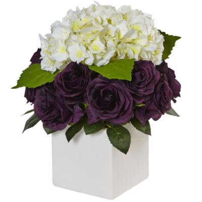 Hydrangea and Purple Rose Silk Arrangement in Ceramic Planter