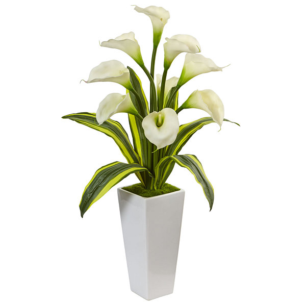 Calla Lilies with Tropical Leaves Silk Arrangementin Glossy Planter