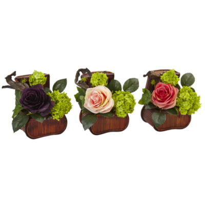 Rose and Mini Greenery Silk Arrangement in Wooden Chests (Set of 3)
