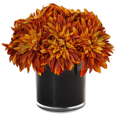 Dahlia and Mum Silk Arrangement in Black Glossy Cylinder Vase