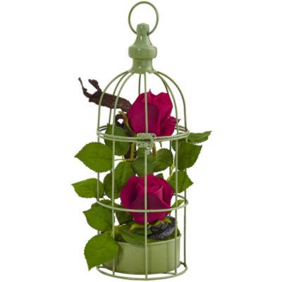 Red Roses Silk Arrangement in Decorative Bird Cage