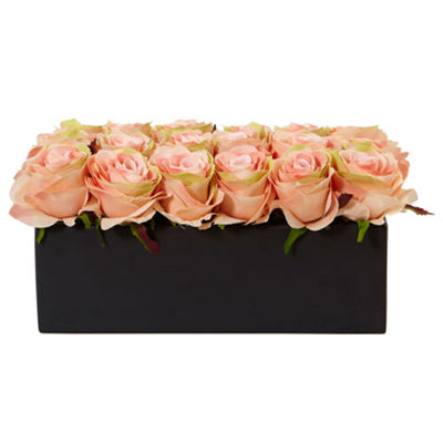 Dozen Silk Roses in Ceramic Rectangular Planter