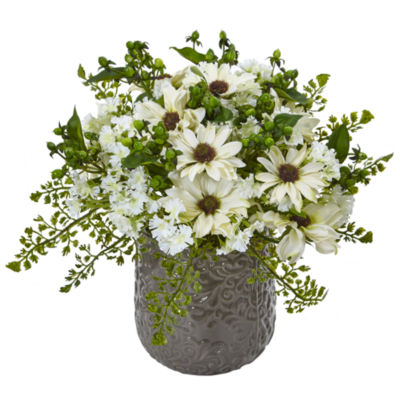 Daisy Bush Silk Arrangement in Gray Decorative Vase