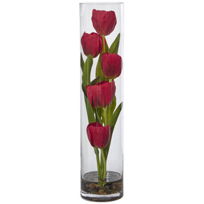 "Tulips Silk Arrangement in 18""H Cylinder Glass"""