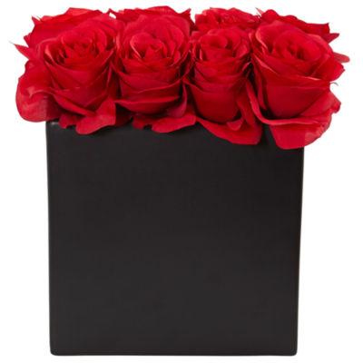 "Roses Silk Arrangement in 9""H Black Vase"""