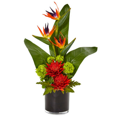 Bird of Paradise Tropical Artificial Arrangement in Black Vase