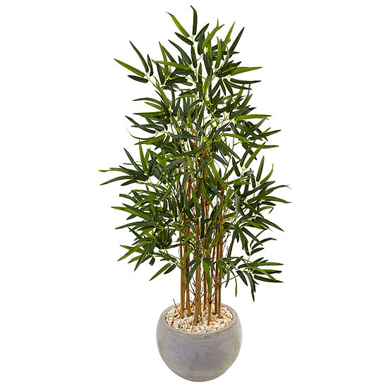 4 Bamboo Artificial Tree In Sand Colored Bowl With River Rocks
