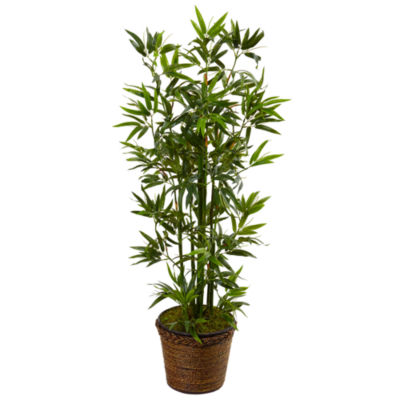 4' Bamboo Artificial Tree in Coiled Rope Planter
