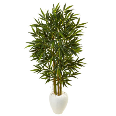 5.5' Bamboo Artificial Tree in White Oval Planter