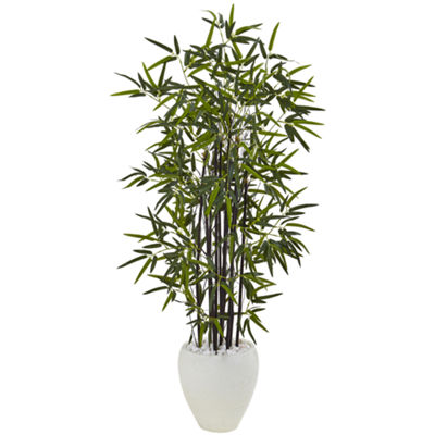 5' Black Bamboo Artificial Tree in White Oval Planter