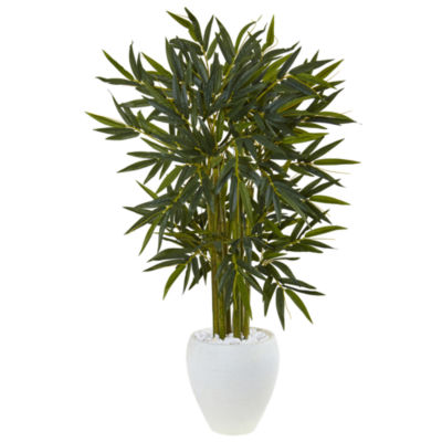 4.5' Bamboo Artificial Tree in White Oval Planter
