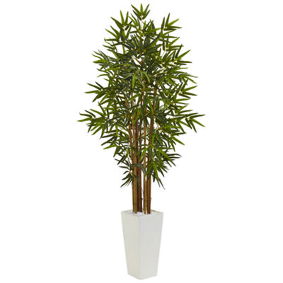 5' Bamboo Artificial Tree in White Tower Planter
