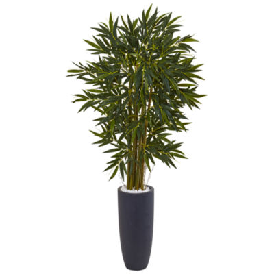 6.5' Bamboo Artificial Tree in Gray Cylinder Planter