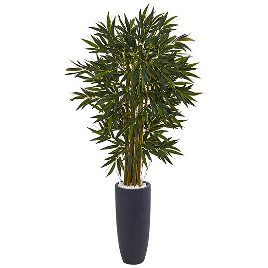 65 Bamboo Artificial Tree In Gray Cylinder Planter