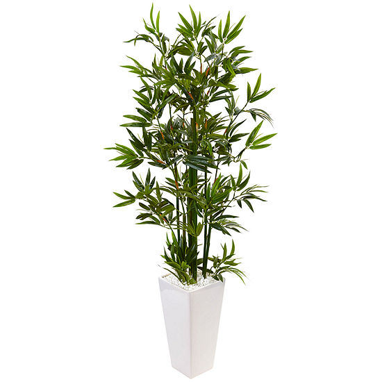 4.5' Bamboo Artificial Tree in White Tower Planter