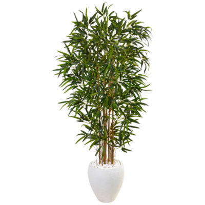 5' Bamboo Artificial Tree in Oval White Planter