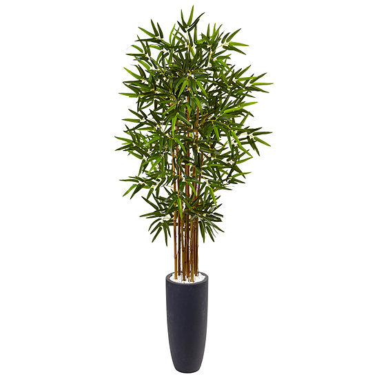5' Bamboo Artificial Tree in Gray Cylinder Planter