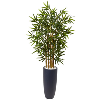 4' Bamboo Artificial Tree in Gray Cylinder Planter