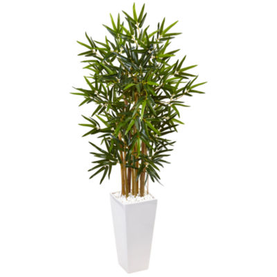 4' Bamboo Artificial Tree in White Tower Planter