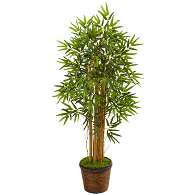 4.5' Bamboo Artificial Tree in Coiled Rope Planter
