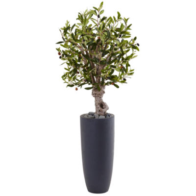 3.5' Olive Artificial Tree in Gray Cylinder Planter
